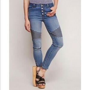 Free People Seamed Moto Button Fly Skinny Jeans 30